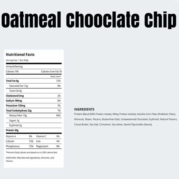 Quest Bar Box Oatmeal Chocolate Chip Nutrition Facts ArmourUP Asia Singapore