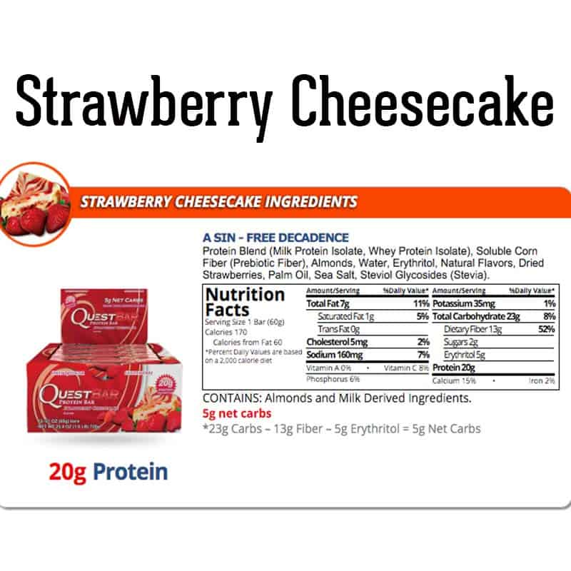 Quest Bar Box Strawberry Cheesecake Nutrition Facts