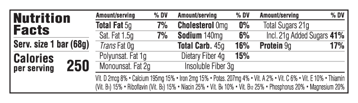 clif chocolate chip nutrition facts