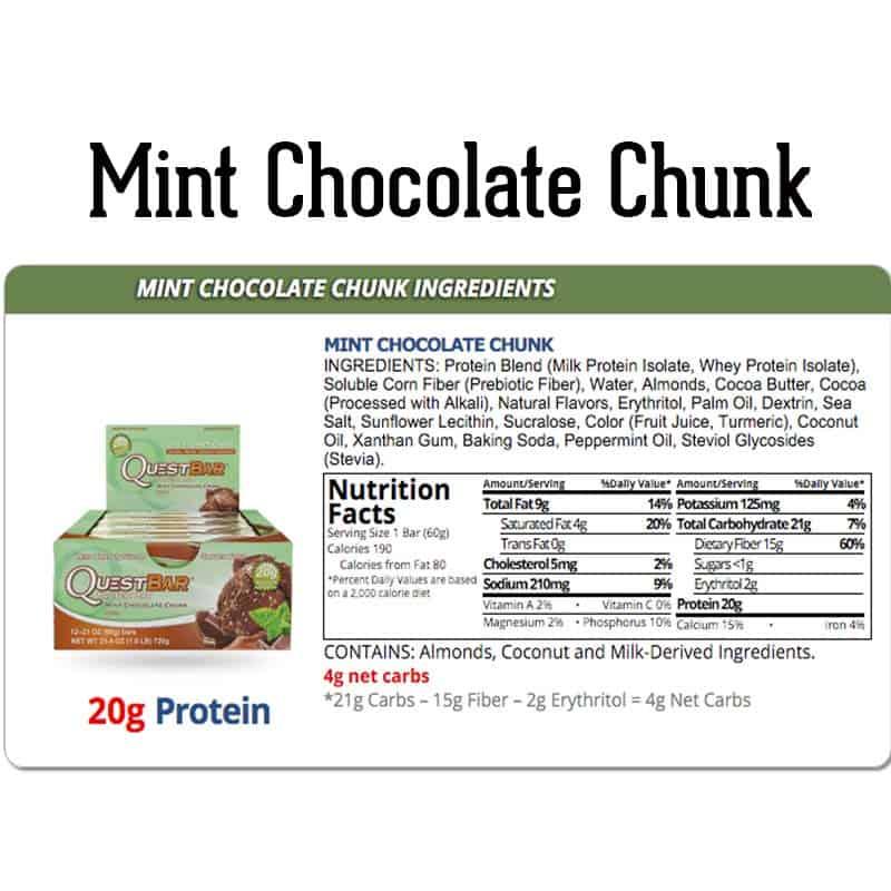 Quest Bar Box Mint Chocolate Chunk