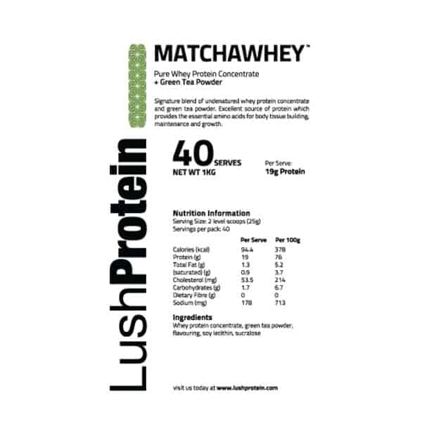 LushProtein MatchaWhey™ Nutrition Facts