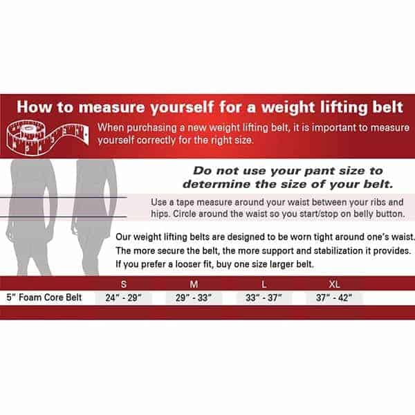 Foam Core Lifting Belt Size Guide