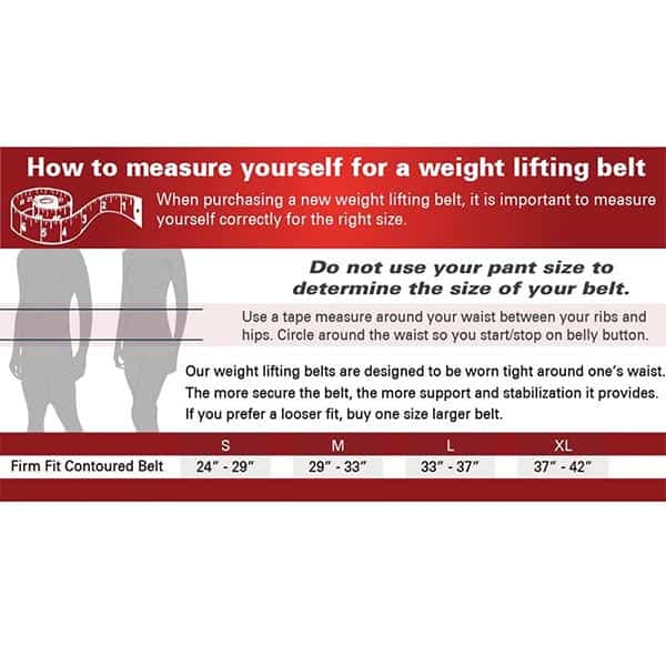 Harbinger Firm Fit Contour Lifting Belt Size Guide