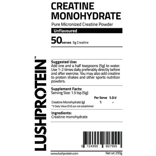 LushProtein Creatine Monohydrate 250g 50 Servs Nutrition Facts ArmourUP Asia Singapore