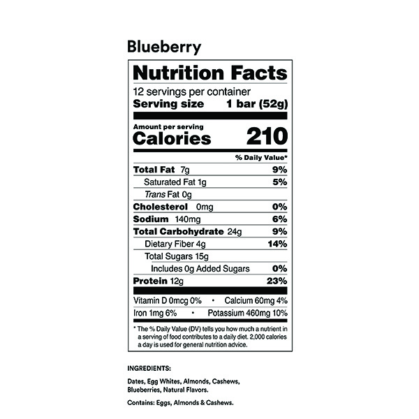 RXBAR Blueberry Nutrition Facts ArmourUP Asia Singapore