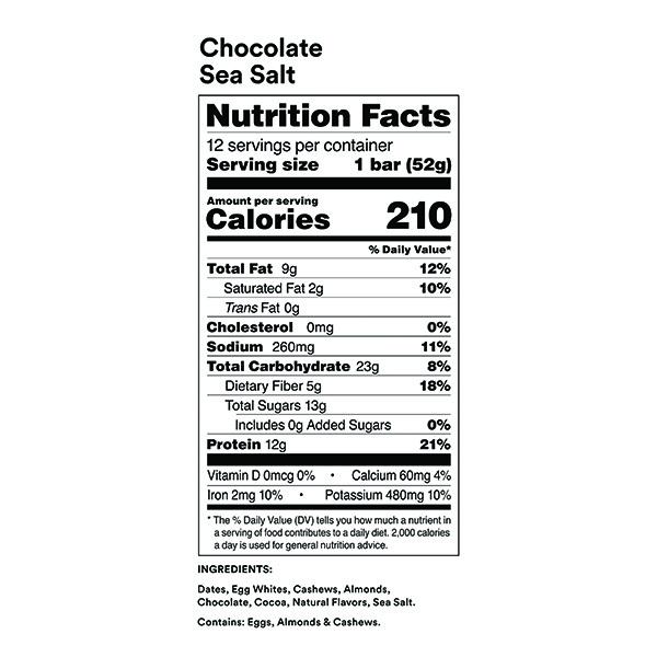 RXBAR Chocolate Sea Salt Nutrition Facts ArmourUP Asia Singapore