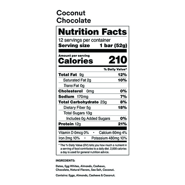 RXBAR Coconut Chocolate Nutrition Facts ArmourUP Asia Singapore