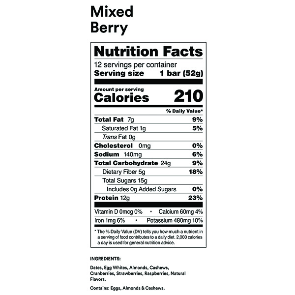 RXBAR Mixed Berry Nutrition Facts ArmourUP Asia Singapore